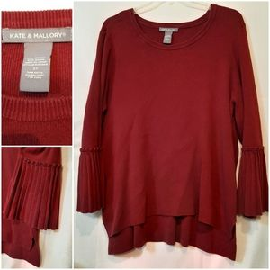 Kate Mallory Pleated Bell Sleeve Sweater Tunic